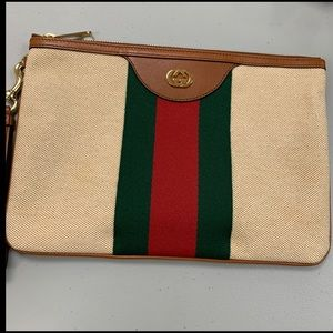 Gucci Canvas Web Pouch in Beige